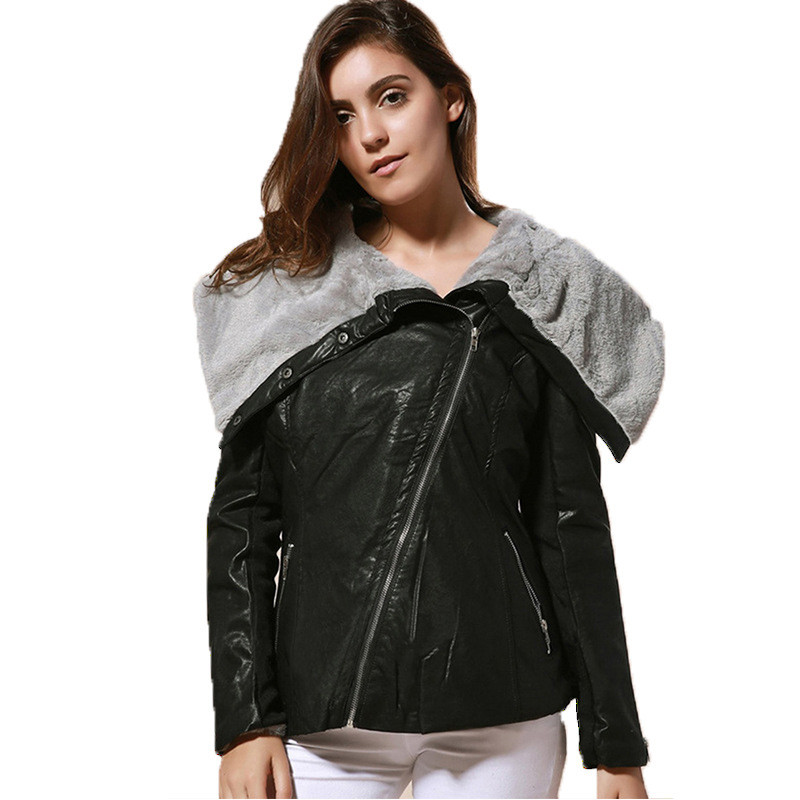 Women Faux   leather   coat black S-3XL plus size slim PU jacket 2019 autumn winter new europe and america lapel fashion coat LR527