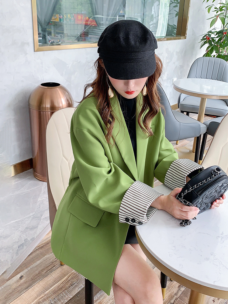 Stripe Korean Ladies Blazer Loose Solid Green Simple Suit Jacket Casual Chamarras Mujer Stylish Party Women Jacket New MM60NXZ