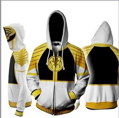 Electric Power Rangers Hoodie New Style Cospaly 3D Digital Printing Zipper Hooded Coat Hoodie