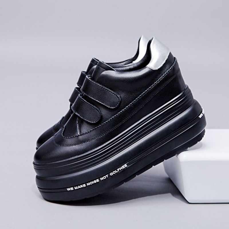 Designer Plattform Turnschuhe Frauen Herbst Winter Echtem Leder Haken & Loop Höhe Zunehmende Schuhe Femme Schwarz Casual Schuhe