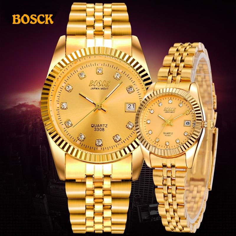 BOSCK Fashion Couples Wristwatches Mens Gold Luxury Brand Women Dress Watch Reloj Watch Men Relogios Masculinos