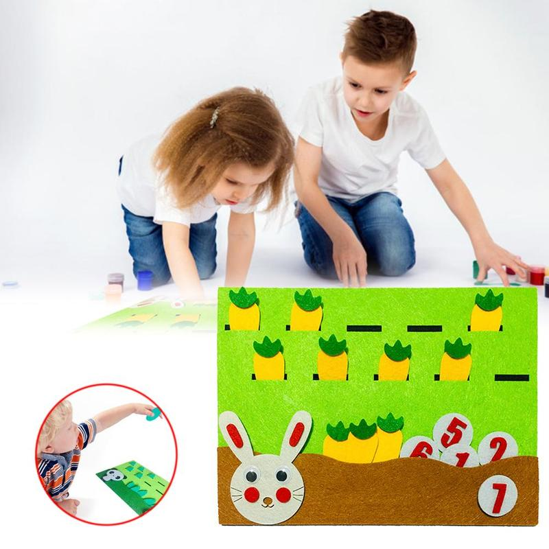 New DIY Weave Cloth Early Education Toys For Children Math Teaching Cute Animals Montessori Toys Point Matching Math Puzzle Toy