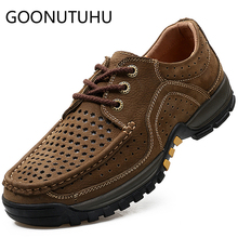 2019 summer men's shoes casual genuine leather male brown lace up or slip on shoe man hollow breathable shoes for men size 38-44 цена