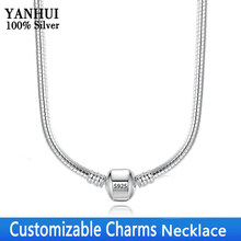 YANHUI personalizable Charms collar grabado marca Carta Pan collar mujeres Original 925 Plata serpiente hueso collar de cadena(China)