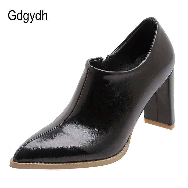 Gdgydh 2020 New Spring Autumn High Heels Extreme Pointed Toe Heels Female Office Shoes With Zipper Shallow Black Plus Size 42