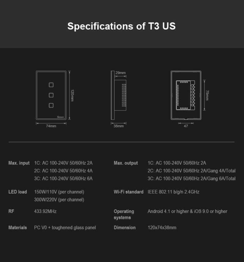 SONOFF T3 สมาร์ท Wifi US สวิทช์สีดำ 120 ประเภทขอบ 1/2/3 Gang 433 RF/APP/Touch Control ทำงานร่วมกับ Google Home