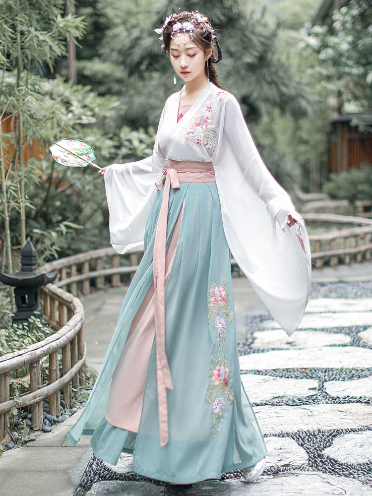 Chinese Traditional Hanfu Dress for Women Ancient Tang Dynasty Fairy Princess Costume Tang Suit Folk Dance Stage Performance