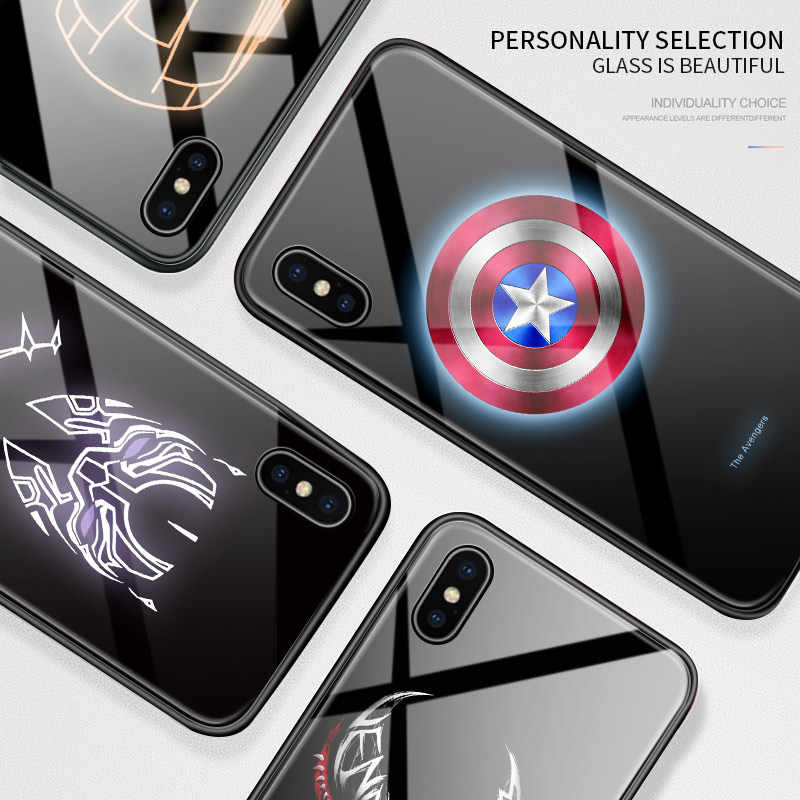 Untuk Asus Max Pro M2 ZB631KL Bercahaya Avengers Marvel Superhero Ironman Case Glow In Gelap Kaca Tempered Kembali Casing Penutup