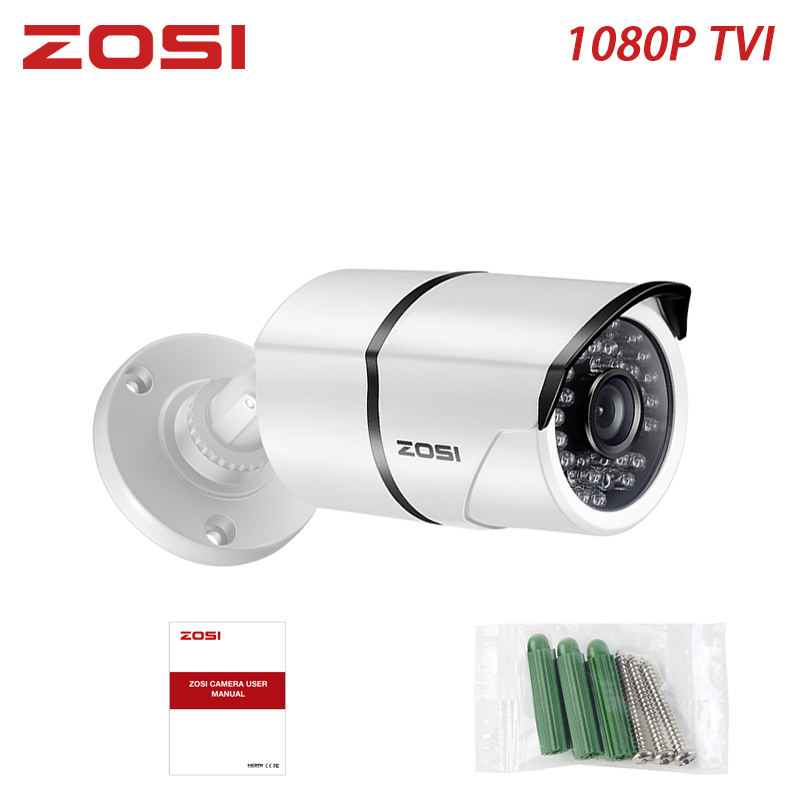 ZOSI caméra à balles de sécurité, capteur de mouvement de vision nocturne en vidéosurveillance 1080P 2MP, caméra à balles de sécurité étanche pour la Surveillance à domicile