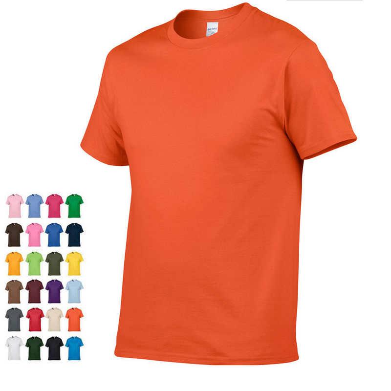 2019 летняя новая Высококачественная Мужская футболка, Повседневная футболка с коротким рукавом и круглым вырезом, 100% хлопок, Мужская