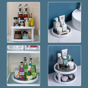 Image 2 - Rotatable Shelf Storage Rack Kitchen Bathroom Organizer And Storage Large Capacity Kitchen Items Household Bathroom Accessories