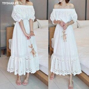 TIYIHAILEY/бесплатная доставка, модное цельнокроеное платье принцессы из хлопка с вышивкой и вырезом, длинное белое платье до середины икры, пла...