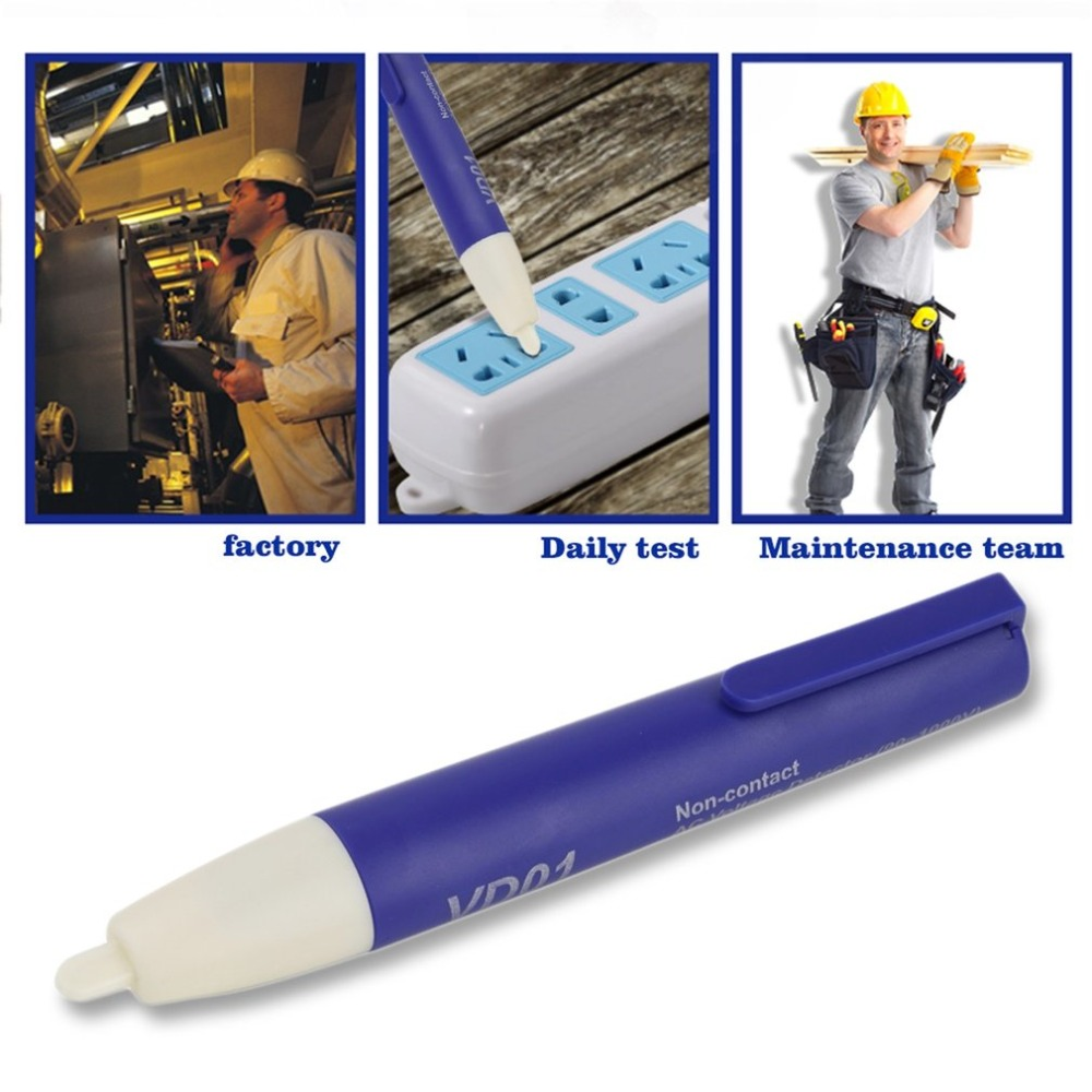 Worldwide 1pcs Voltage Detector Pen Non-Contact AC Volt Sensor Tester Alert Pen 90~1000V LED