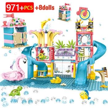 City Heart Lake Beach Hut Water Park Slide Building Blocks Friends House Car Girl RV Villa Castle Bricks Toys For Girls Children
