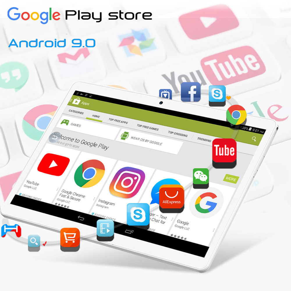 Freies Verschiffen Neue Android 10 zoll Android 9,0 Pie OS 3G Anruf 32GB ROM Dual SIM Karten wifi A-GPS IPS 2,5 D Glas tabletten PC