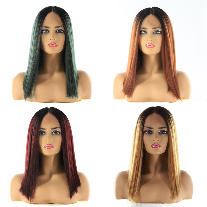 SOKU Wigs Blonde Yaki Middle-Part Lace-Front Black Synthetic Straight Ombre 150%Density
