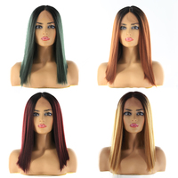 Ombre Blonde Synthetic Lace Front Wigs For Black Women SOKU Yaki Straight Middle Part Bob Lace Front Wig 150% Density