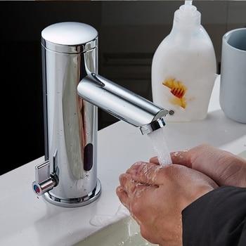 Sensor Faucet Automatic Infrared Sensor Hand Press Tap Hot Cold Mixer Chrome Polished Sink Mixer Bathroom Tap Basin Faucets