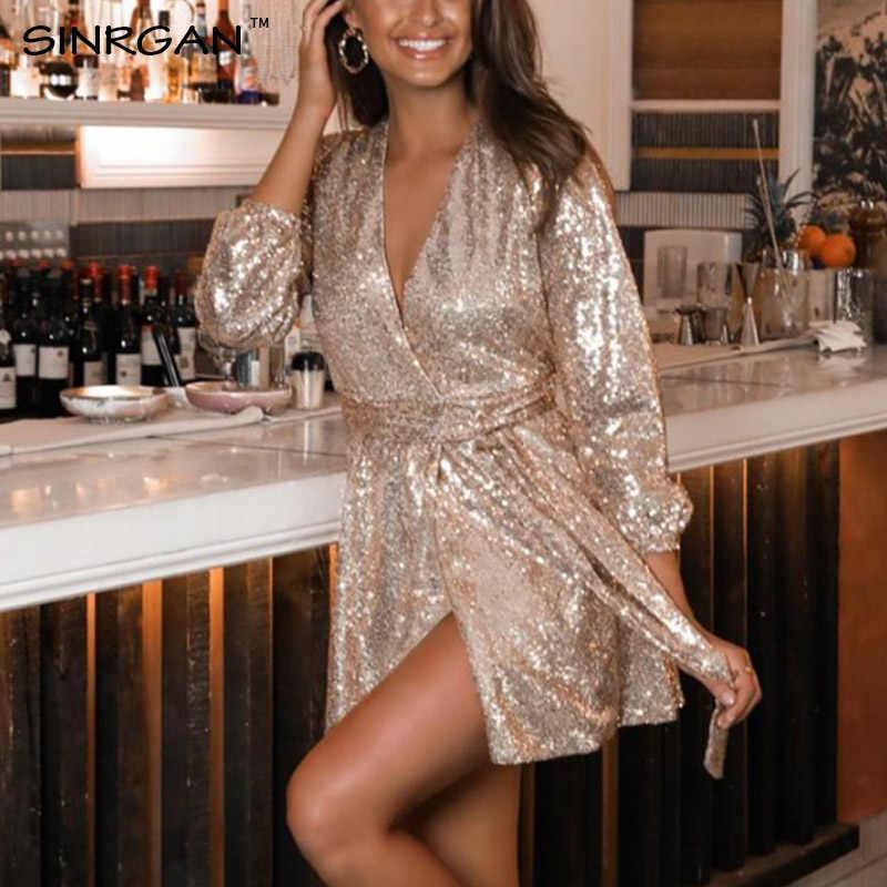 SINRGAN 女性 Romilly スパンコールセクシークラブドレス v ネックサッシシルバーイブニングミニドレス