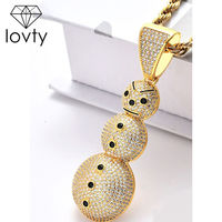 2020 New Gold/Silver Christmas Snowman Pendant Necklace Hiphop Rock Jewelry For Men Women Popular Creative Jewelry U3