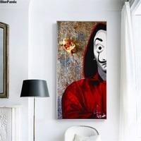 A casa de papel cartaz a óleo quadros em tela graffiti na parede arte imagens para sala estar decoração casa|Pintura e Caligrafia|   -