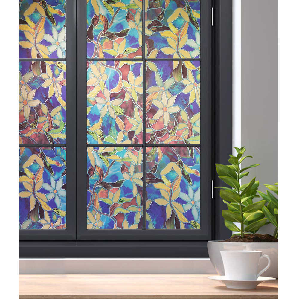 WXSHSH Stained Glass Window Film Privacy Static Cling Vetro Ornamentale a Pellicola Magnolia Modello di Copertura Finestra Blackout Pellicola