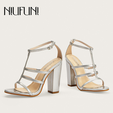 NIUFUNI Solid Color Peep Toe Women Sandals Sexy Banquet Buckle High Heels Casual Shoes Summer Footwear For Sandales femme