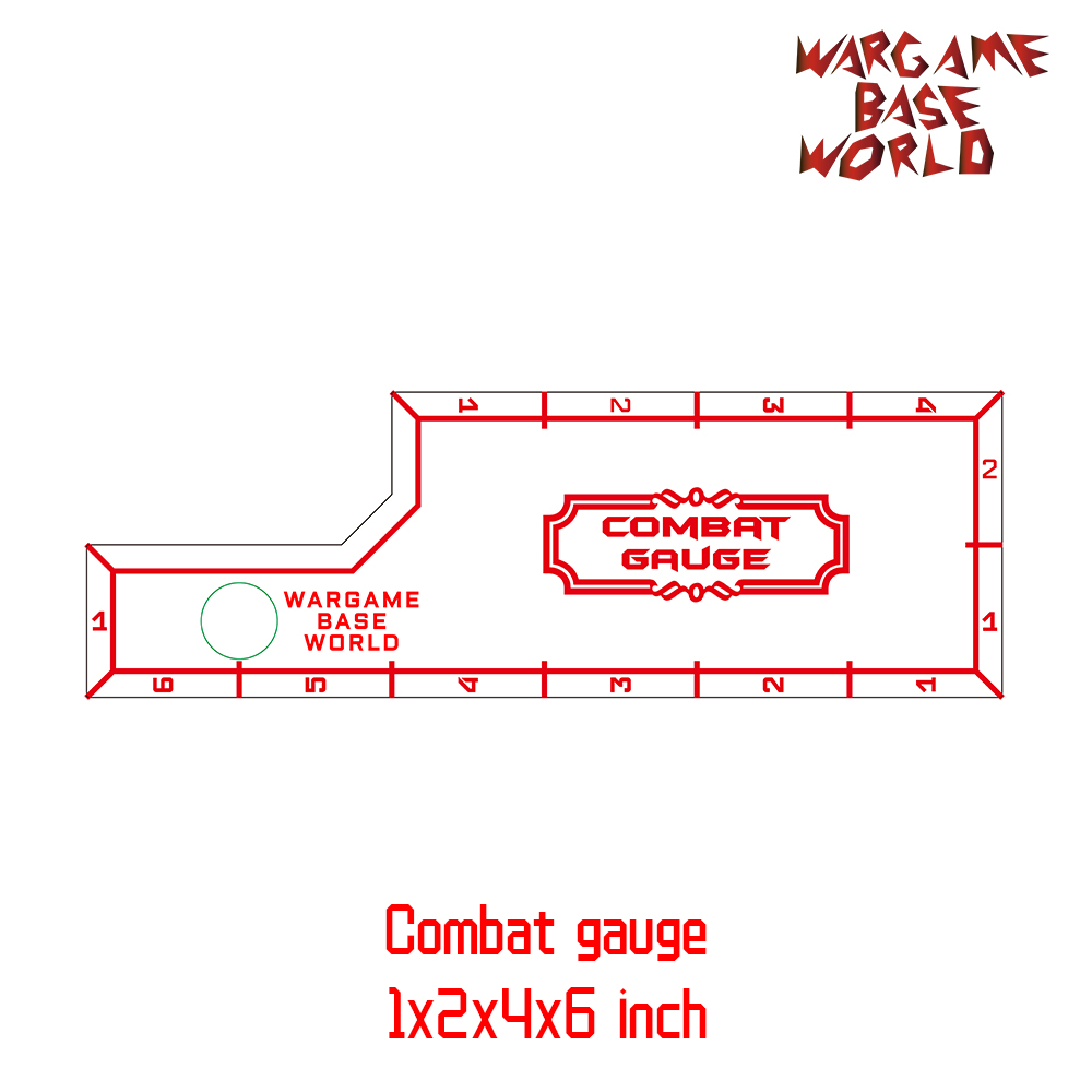 Wargame Base World - Combat Gauge - Measure Tooling - Battle Gauge -1x2x4x6