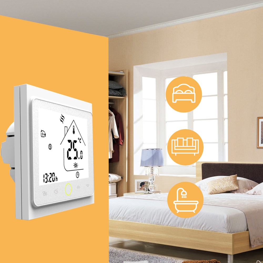 LCD Display Smart Thermostat Temperature Controller Energy Saving 3A Water/Gas Boiler Heating Thermostat With Touchscreen