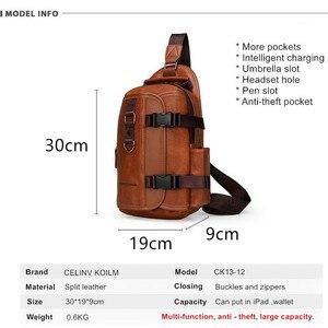 Image 2 - Celinv Koilm iPad wodoodporna męska nerka podróżna, opakowanie na klatkę piersiową, nowa wielofunkcyjna torba wisząca crossbody, torba męska