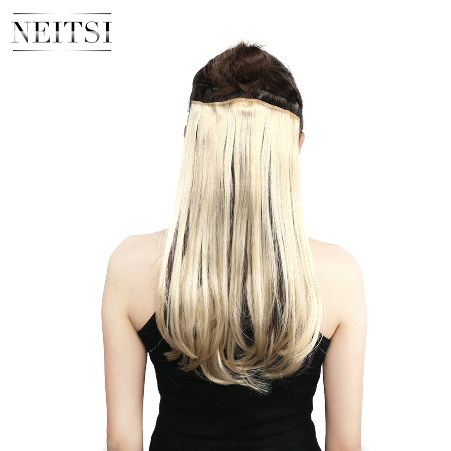 Neitsi 14'' 8 Clips 3Pcs/set Women Synthetic Clip In Hair Extensions Straight Heat Resistant Light Blond Color 75G