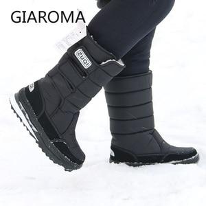 Image 1 - 2019 buty męskie antypoślizgowe średnio wysokie buty z cholewami męskie zimowe buty na śnieg wodoodporny hak pętli projekt platformy buty Bota Masculino rozmiar 47