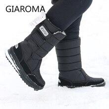 2019 ブーツ男性抗スリップミッドカーフブーツ男性冬の雪の靴防水フックループデザインプラットフォームの靴ボタ masculino サイズ 47