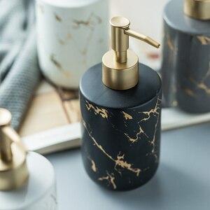 Image 5 - Marble pattern Ceremic Dispenser Nordic bathroom hand sanitizer bottle shower gel bottle bathroom ceramic hand sanitizer bottle