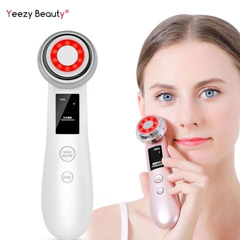 novo ultra sonico iontoforese led cor rf microcorrente facial celula rejuvenescimento beleza instrumento massagem facial