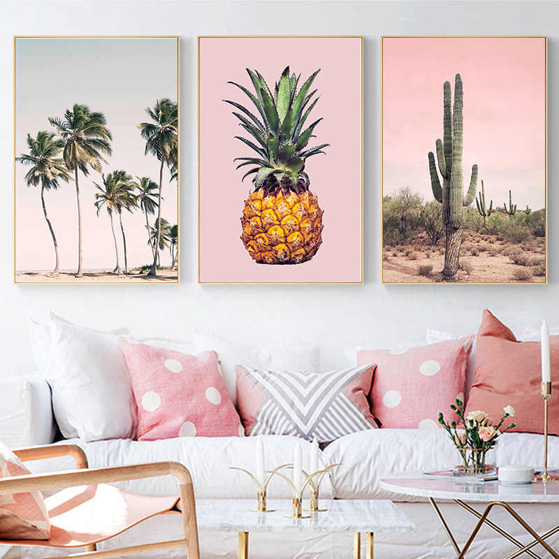 Coconut Palm Tree Pink Beach Umbrella Pineapple Cactus Wall Art Canvas Painting Nordic Posters Prints Pictures for Living room