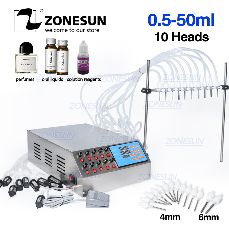 ZONESUN Electric Digital Control Pump Liquid Filling Machine 50ml For Bottle Perfume Vial Oral Liquid With 10 Heads