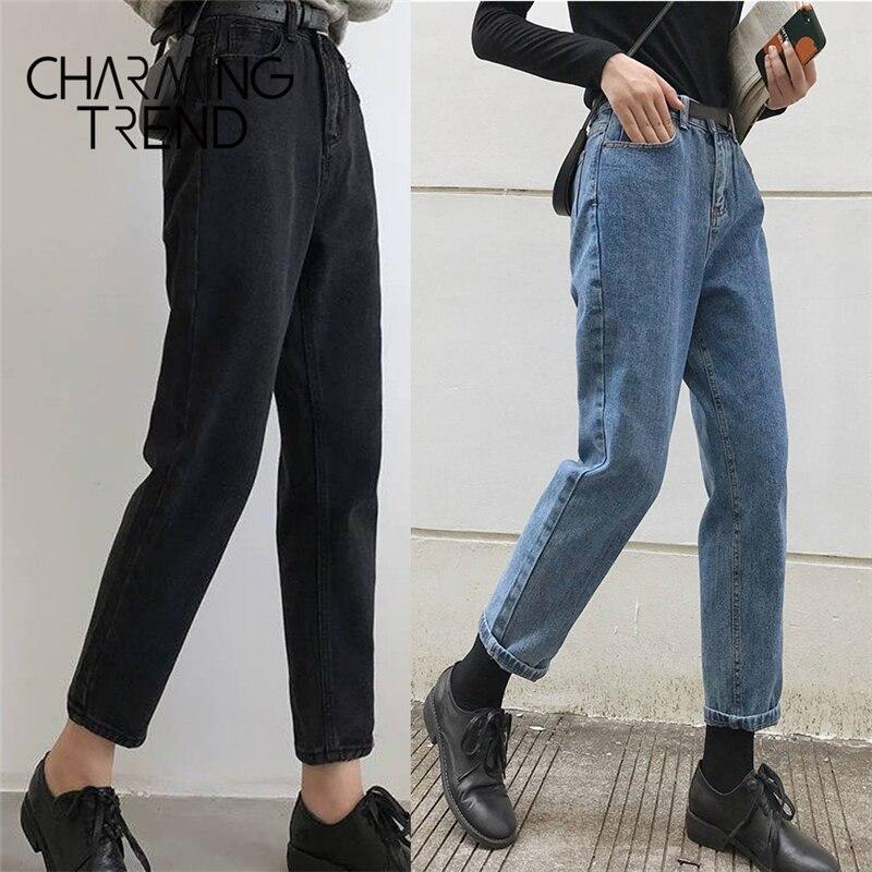 Женские джинсы, черные корейские укороченные джинсы для девушек, студентов, винтажные однотонные длинные штаны, женские джинсовые штаны с высокой талией для женщин Джинсы      АлиЭкспресс