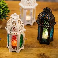 Estilo marroquino oco castiçal votivo suporte de vela pendurado lanterna de vidro de ferro forjado castiçal decoração para casa|Suporte p/ velas| |  -