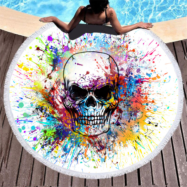 QUEEN SKULL ROUND BEACH TOWELS (7 VARIAN)