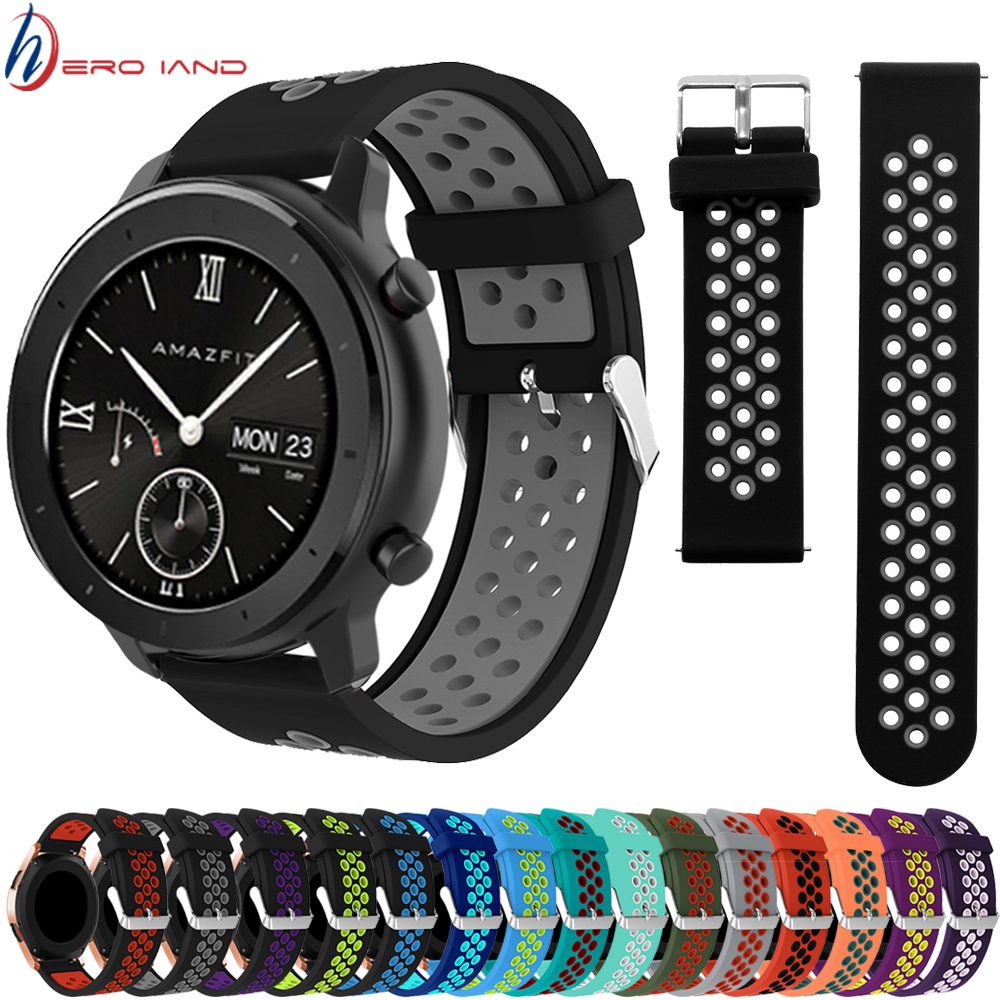 22MM 20MM Silicone Strap Watchband For Xiaomi Huami Amazfit GTR 47MM 42MM GTS Smart Wristband Colorful Replacement Bracelet Band