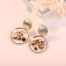 HOCOLE 2019 Oversize Big Resin Drop Earrings For Women Za Brand Boho Gold Shell Geometric Dangle Earring Fashion Korean Jewelry
