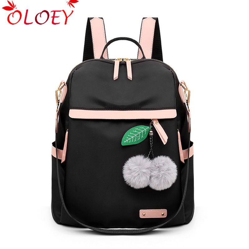 Women's Backpack Multifunctional Backpack MultPocket Travel Backpack New Waterproof Nylon Ball Pendant Lady's School Bag Book Mo