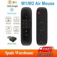 Micrófono inalámbrico con Control remoto por voz, Mini giroscopio para teclado con detección para caja Android Tv inteligente de Spian, W1/W2