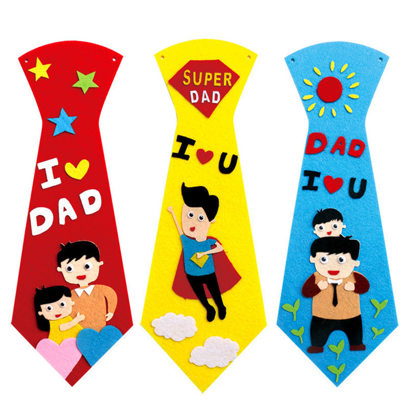 NEW 3PCS Creative Crafts DIY Ties Kindergarten Children Kids Handmade Educational Toys Fathers Day Gift Material Package