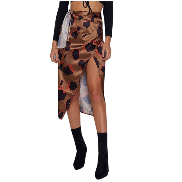 Female High Waist Bandage Leopard Printing Wrap Satin Bow Sexy Split Skirts faldas mujer moda юбки женские кожаная юбка 6