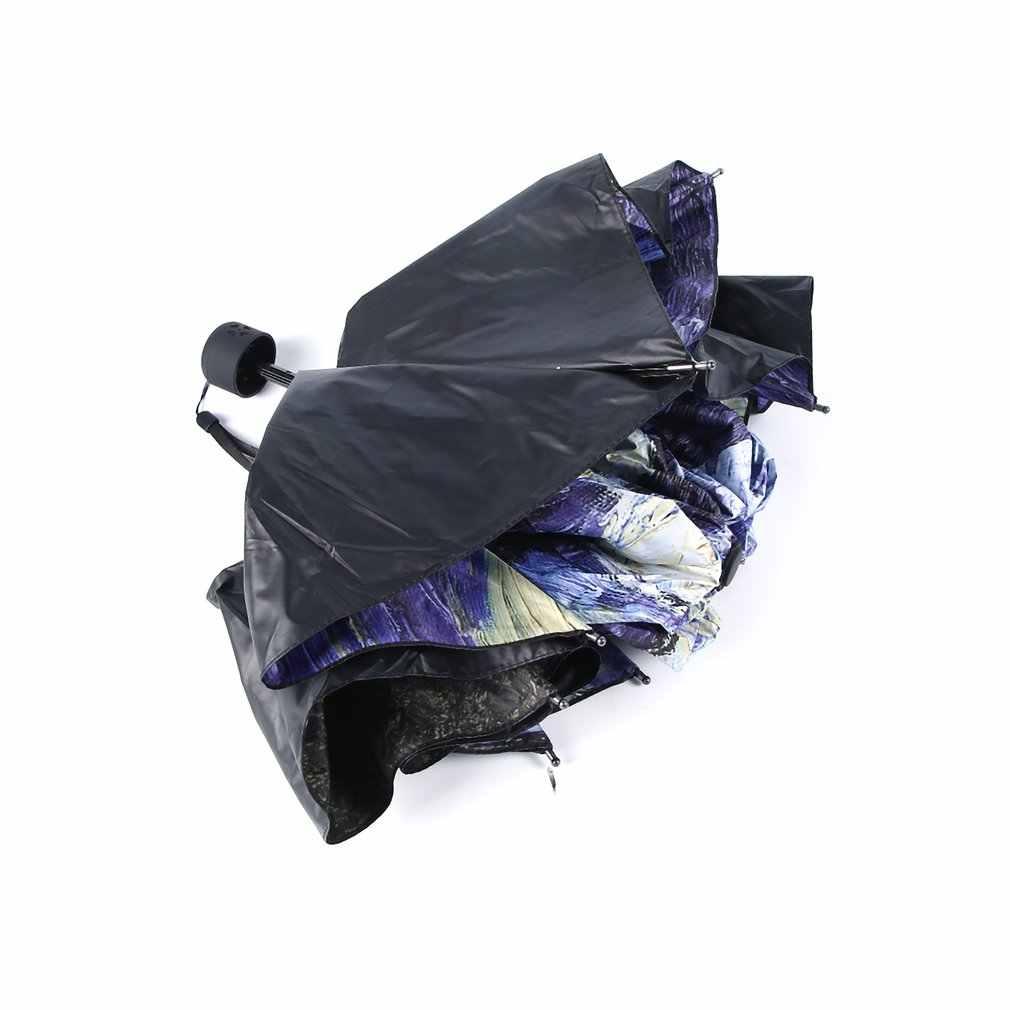 Mode Van Gogh peinture à l'huile Arts innovants tous temps parapluie imperméable à l'eau revêtement pliant à l'intérieur parasol Anti-UV vêtements de pluie