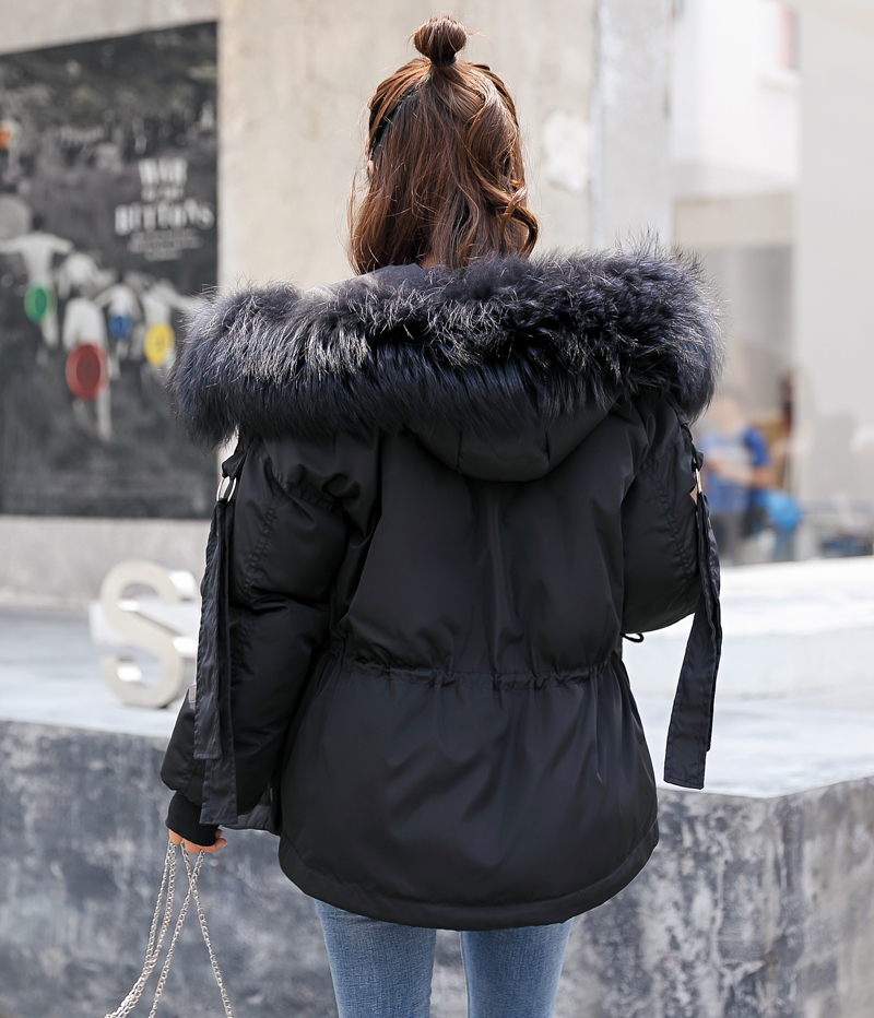 Korean Style 2019 Winter Jacket Women Cotton Padded Hooded With Fur Fe_A4_5