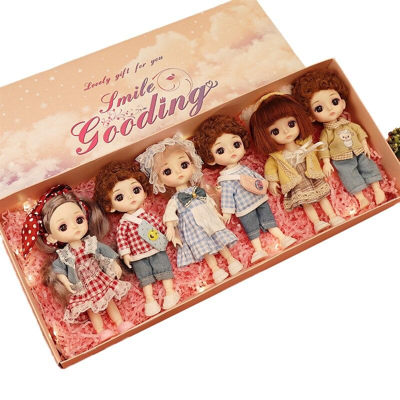 16CM BJD Puppen 13 Beweglichen Verbunden Mädchen Jungen Spielzeug Mit Geschenk Box Mode Niedlich Make-up Spielzeug BJD schönheit Puppe Für Geburtstag Geschenke Set