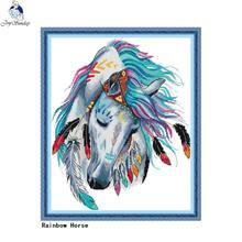 Joy Sunday Rainbow Horse Animal Pattern Count Cross Stitch Kit 11ct 14ct Cross Stitch Wholesale DIY Embroidery Needlework Set